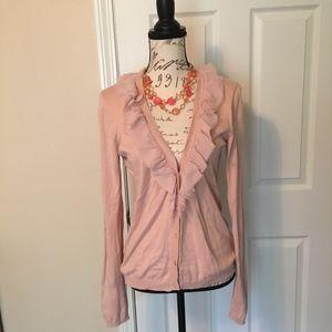 Gap Pink Ruffle Cardigan Sweater Lightweight Large